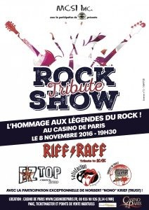 Affiche Tribute rock show Casino de Paris